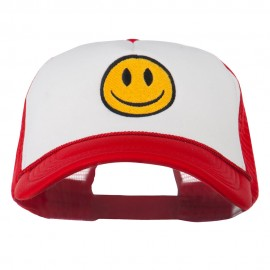 Smiley Face Embroidered Big Size Trucker Cap - White Red