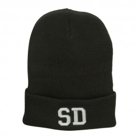 SD South Dakota Embroidered Long Beanie