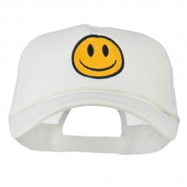 Smiley Face Embroidered Big Size Trucker Cap - White