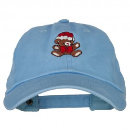 Santa Teddy Bear Embroidered Unstructured Washed Cap