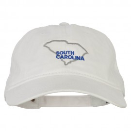 South Carolina with Map Outline Embroidered Washed Cotton Twill Cap