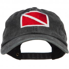 Scuba Dive Flag Embroidered Washed Dyed Cotton Cap