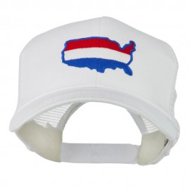 United States Map Embroidered Trucker Mesh Cap - White