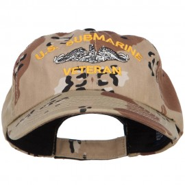 US Submarine Veteran Military Embroidered Enzyme Camo Cap - Desert