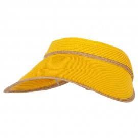 Two Tone Wide Brim Straw Visor with Contrasting Color Edge