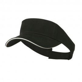 Brushed Cotton Twill Sandwich Visor - Black White