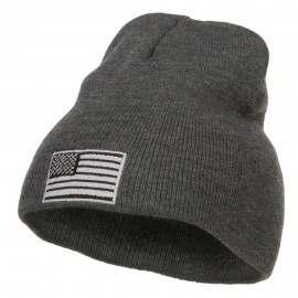 Silver American Flag Embroidered Short Beanie