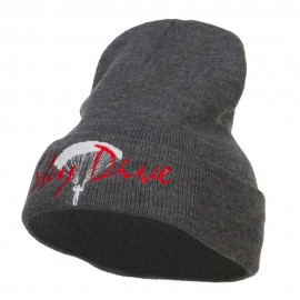 Sky Dive Embroidered Long Beanie