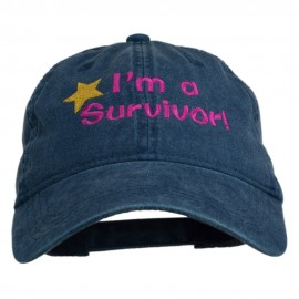 I'm a Survivor Embroidered Washed Cap - Navy