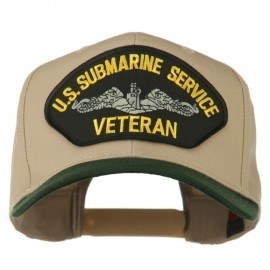 US Submarine Service Veteran Military Patched Two Tone High Cap - Green Khaki