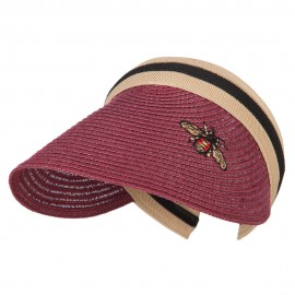 Straw Clip On Visor with Stripe Fabric Band