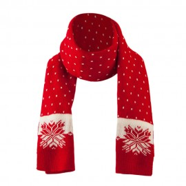 Large Snowflake Designed Scarf - Red