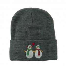 Snowmen with Heart Embroidered Beanie