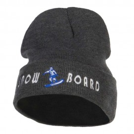 Snowboard Embroidered Long Beanie