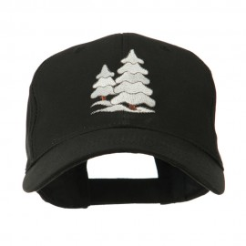 Christmas Trees with Snow Embroidered Cap - Black