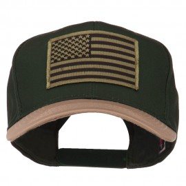 Subdued American Flag Patched Two Tone High Cap - Khaki Green