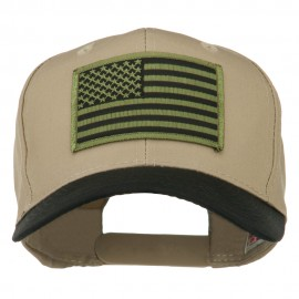 Subdued American Flag Patched Two Tone High Cap - Black Khaki