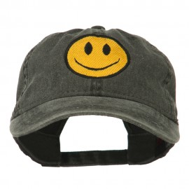 Smile Face Embroidered Washed Cap - Black