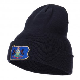 Pennsylvania State Flag Map Embroidered Long Beanie
