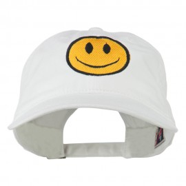 Smile Face Embroidered Washed Cap - White