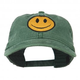 Smiley Face Embroidered Washed Cap - Dark Green