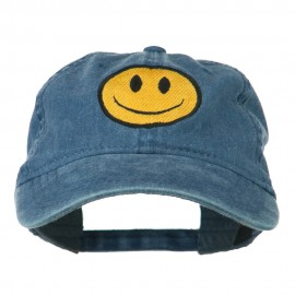 Smiley Face Embroidered Washed Cap - Navy