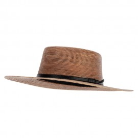 Palm Braid Leatherette Band Trim Accented Large Brim Boater Sun Hat - Dk Palm