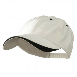 Two Tone Adjustable Brushed Cotton Twill Cap - Cream Black
