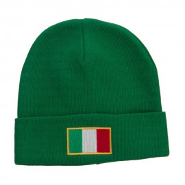Europe Italy Flag Embroidered Long Beanie