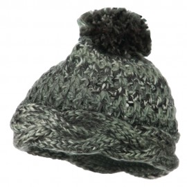Twisted Bottom Pom Knit Beanie