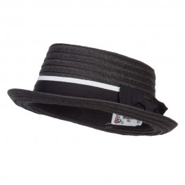 Ribbon Band Boater Pork Pie Hat