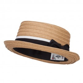 Ribbon Band Boater Pork Pie Hat - Brown
