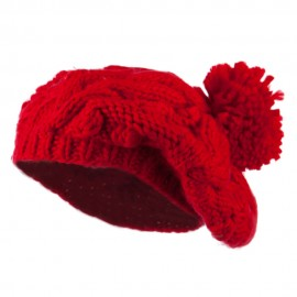 Twist Beret Knitted with Pom Pom - Red