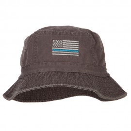 Thin Blue Line USA Flag Embroidered Bucket Hat - Charcoal
