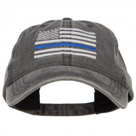 Thin Blue Line Silver USA Flag Embroidered Washed Cap
