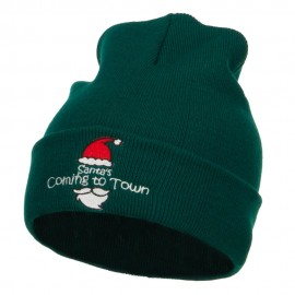 Santa Coming To Town Embroidered Long Beanie