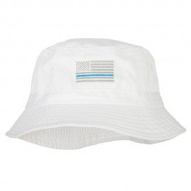 Thin Blue Line USA Flag Embroidered Bucket Hat - White