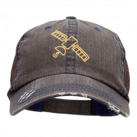 Satellite Outline Embroidered Unstructured Cotton Mesh Cap