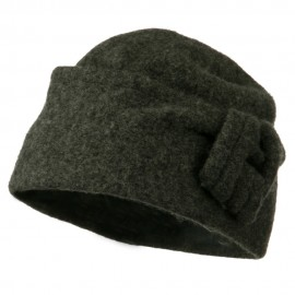Woman's Slant Cuff Boiled Wool Cap with Twisted Circle Detail