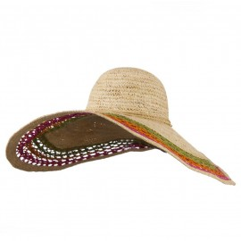 Tri Color Open Weave Straw Wired Brim Hat - Raffia