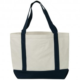 Two Tone Cotton Canvas Tote Bag - White Navy