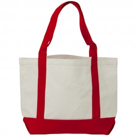 Two Tone Cotton Canvas Tote Bag - White Red
