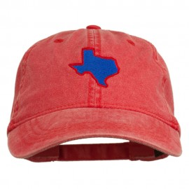 Texas State Map Embroidered Washed Cotton Cap - Red