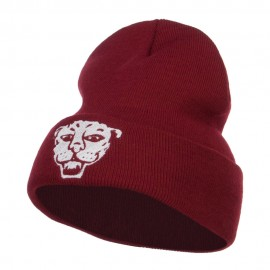 Tiger Emblem Embroidered Long Beanie