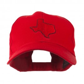Texas State Outline Embroidered Cap - Red