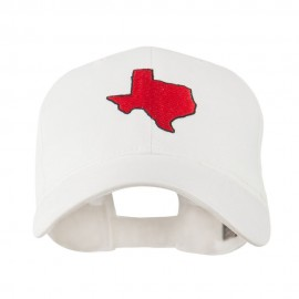 Texas State Outline Embroidered Cap - White