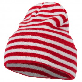 Trendy Striped 12 Inch Long Cuff Beanie