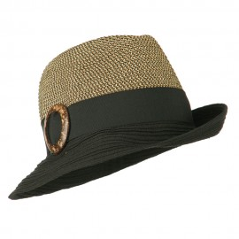 UPF 50+ Two Toned Tweed Fedora - Black