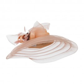 Taffeta Braid Horse Hair Organza Hat - Champagne