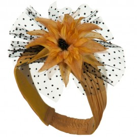 Heandband with Tulle and Flower Trim